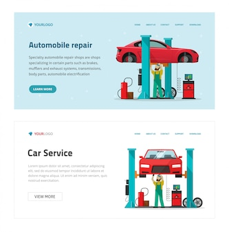 Illustrazione del modello di sito web di servizio di garage di riparazione di automobili, meccanico del fumetto come persona di riparatore che ripara il veicolo nel banner di officina moderno, uomo dell'operaio sotto l'automobile sollevata