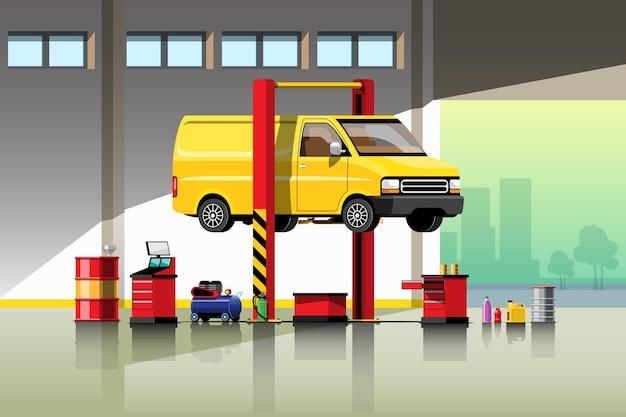 Illustrazione di servizio di riparazione e manutenzione di automobili.