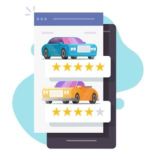 Feedback di testimonianze automobilistiche e negozio online di reputazione su smartphone Vettore Premium