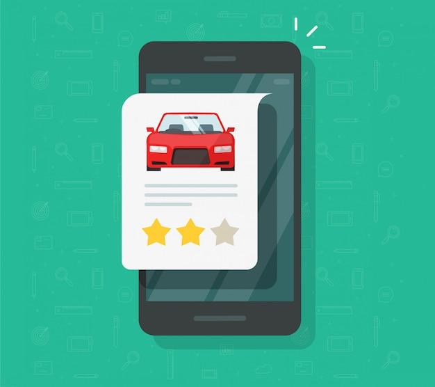 Feedback testimonial automobilistico sull'icona dello smartphone Vettore Premium