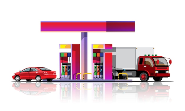 Automobile e camion che si riforniscono alla stazione di rifornimento