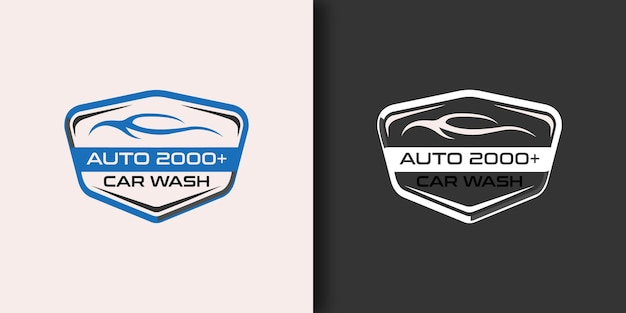 Modello di progettazione del logo dell'autolavaggio automobilistico