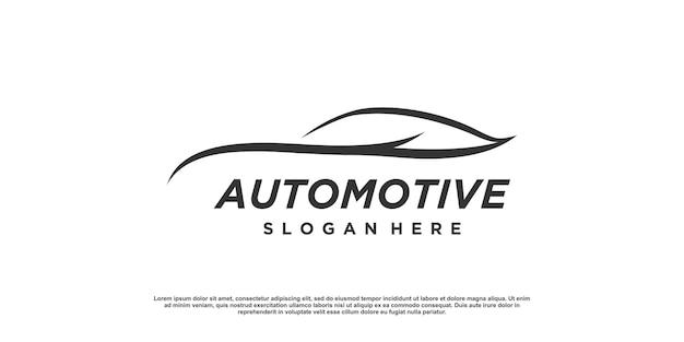 Design del logo automobilistico con un concetto semplice e minimalista vettore premium