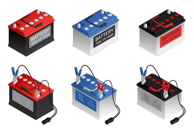 Batteria per auto ricaricabile automobilistica 6 isometrica rosso blu nero set di colori sfondo bianco illustrazione isolata