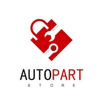 Modello di progettazione del logo del negozio automobilistico. disegno vettoriale di borsa della spesa.