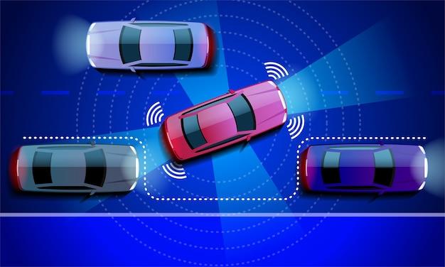 L'auto autonoma lascia il parcheggio. veicolo senza spifferi nella strada della città nella notte.