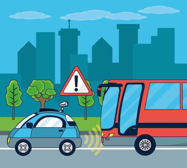 Tecnologia automobilistica autonoma Vettore Premium