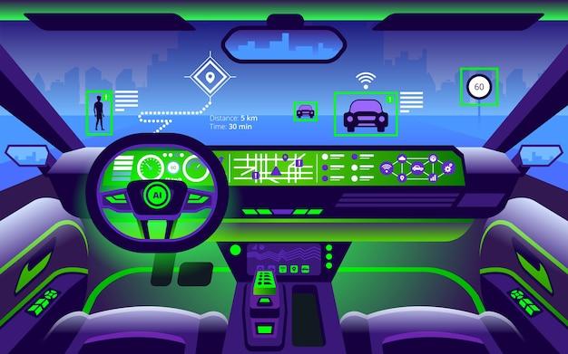 Illustrazione di interni auto intelligente autonoma