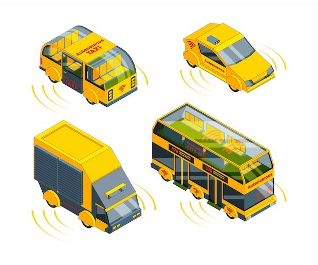 Veicolo autonomo, trasporto senza pilota in auto di emergenza stradale treno taxi e autobus isometrico Vettore Premium