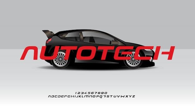 Autotech, un carattere alfabeto sportivo futuristico astratto con tema tecnologico. moderno design tipografico minimalista