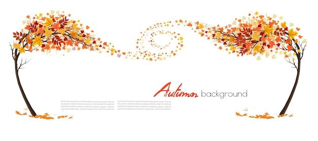 Sfondo absctact autunno con un albero e foglie colorate. vettore.