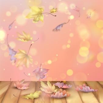 Autunno sfondo astratto con la caduta di acero e foglie di quercia