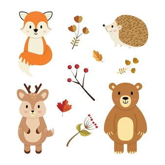 Set di animali autunnali