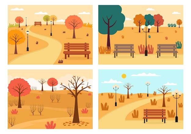 Illustrazione della pagina di destinazione dello sfondo autunnale