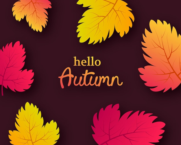 Sfondo autunnale con foglie gialle autunnali e posto per il testo. design per banner o poster della stagione autunnale. illustrazione vettoriale