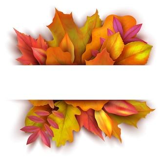 Priorità bassa di autunno con le foglie di caduta della foresta. progettazione dell'insegna di vettore della natura di festa di ottobre