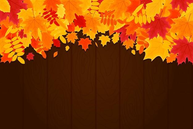 Autumn background con le foglie su struttura di legno. banner orizzontale di illustrazione vettoriale.