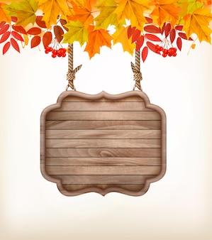 Sfondo autunnale con foglie. e cartello in legno. vettore.