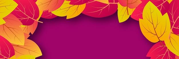 Sfondo autunnale con foglie gialle d'acero e posto per il testo. banner design per banner o poster della stagione autunnale. illustrazione vettoriale