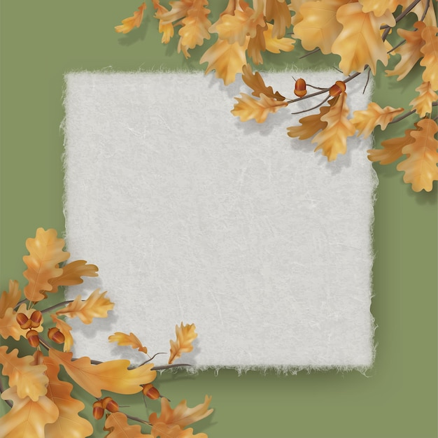 Sfondo autunnale con foglie di quercia