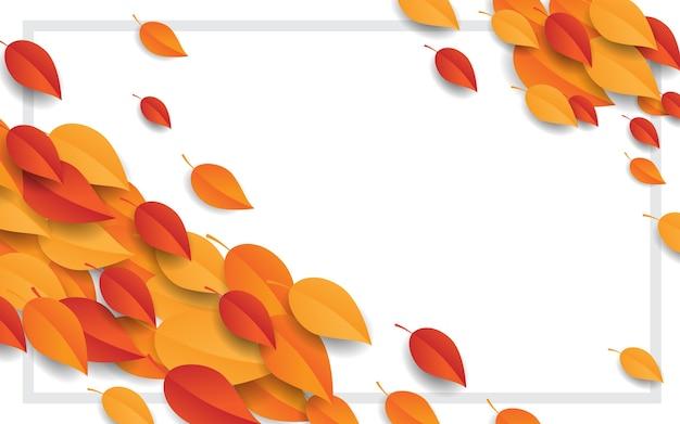 Sfondo autunnale con foglie d'arancio