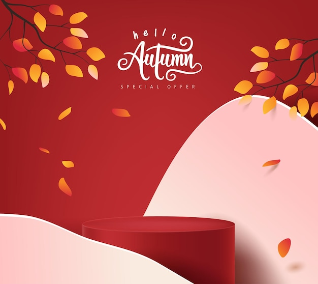 Lo sfondo del banner autunnale con la forma cilindrica dell'esposizione del prodotto decora il paesaggio degli alberi autunnali