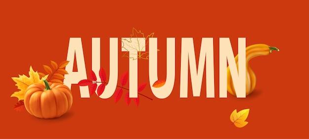 Modello di banner autunnale con foglie che cadono foglie e zucche gialle etichetta poster carta d realistico vec...