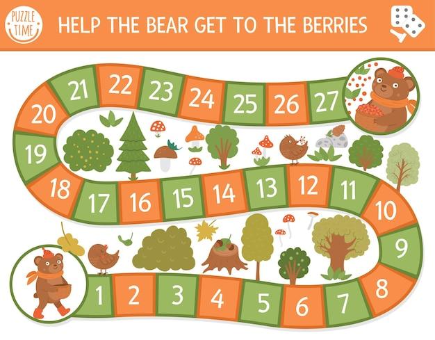 Gioco da tavolo autunnale per bambini con simpatici animali del bosco. gioco da tavolo educativo con l'orsacchiotto. aiuta l'orso a raggiungere l'attività delle bacche. foglio di lavoro stampabile per la stagione autunnale o del ringraziamento.