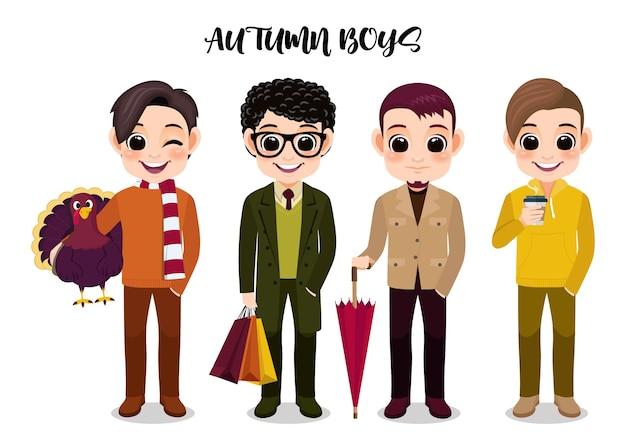 Fumetto di attività all'aperto del personaggio dei cartoni animati del gruppo del ragazzo di autunno sul fumetto bianco di vettore del fondo
