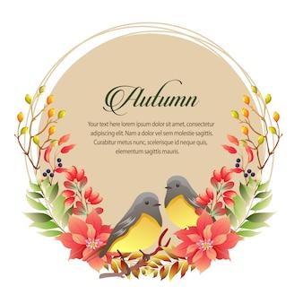 Carta d'autunno con stella di natale e mockingbird