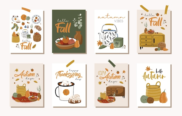 Set di carte d'autunno.