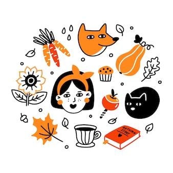 Collezione autunnale di personaggi dei cartoni animati piante cibo e cose