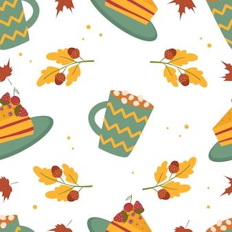 Concetto di autunno. autunno seamless pattern. cappuccino, torta, foglie. stile cartone animato. isolato su sfondo bianco.
