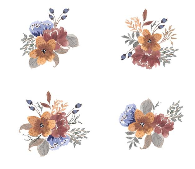 Collezione di acquerelli rustici floreali secchi autunnali