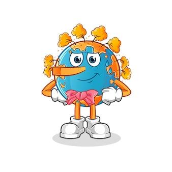 Bugia di terra d'autunno come mascotte mascotte dei cartoni animati di pinocchio. mascotte mascotte dei cartoni animati Vettore Premium