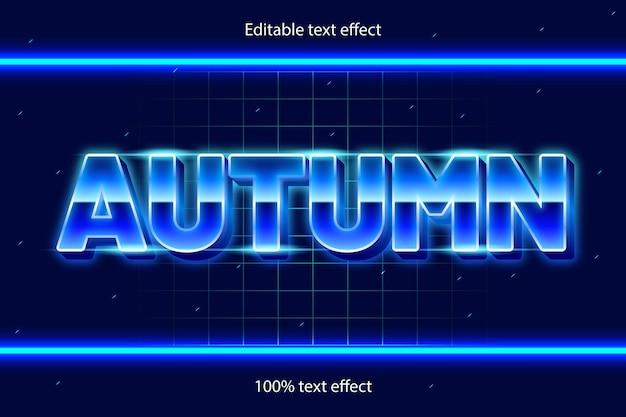 Effetto di testo modificabile autunnale retrò con stile neon