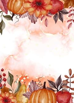 Sfondo floreale autunnale con spazio bianco