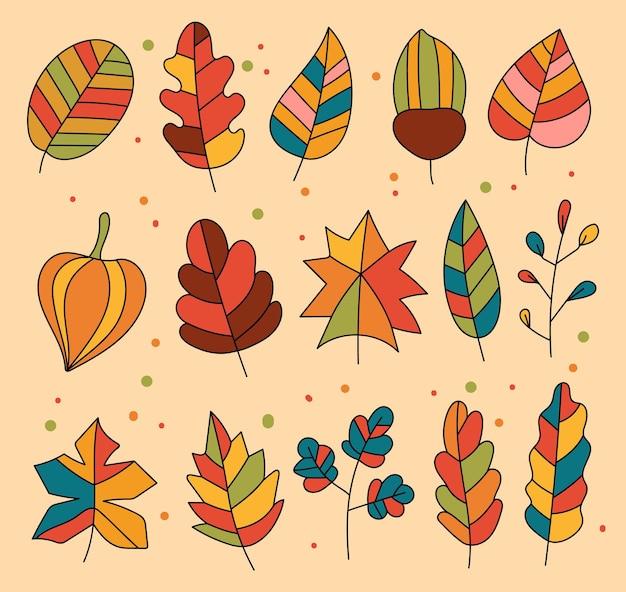 Insieme isolato dell'elemento di progettazione delle foglie della foresta di caduta di autunno