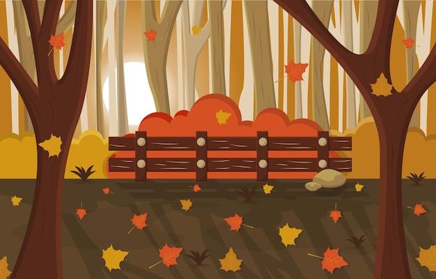 Illustrazione del paesaggio della natura del parco della campagna della stagione autunnale di autunno