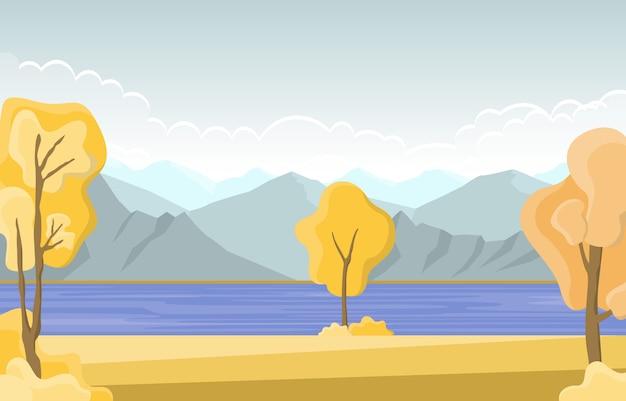 Paesaggio panoramico del lago giallo dorato di autumn fall season tree