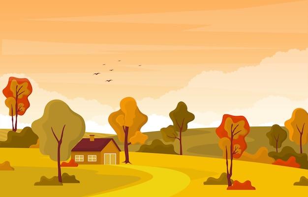 Paesaggio panoramico della natura gialla dorata di autumn fall season tree