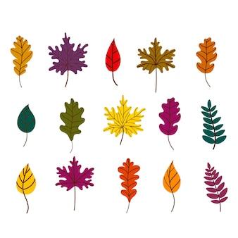 Set di foglie cadute autunnali