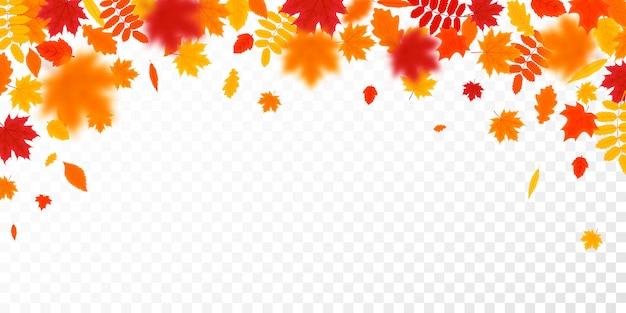 Sfondo di foglie che cadono d'autunno. illustrazione vettoriale stagionale