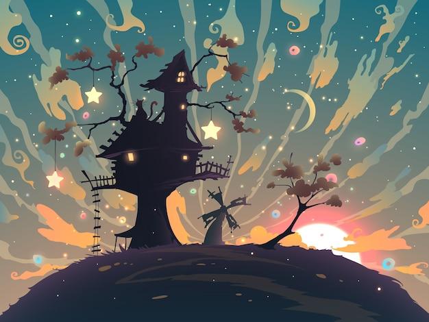 Paesaggio di fantasia autunnale con tramonto e casa sulla sagoma dell'albero