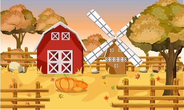 Sfondo fattoria autunnale scena autunnale con zucche e foglie disegno vettoriale