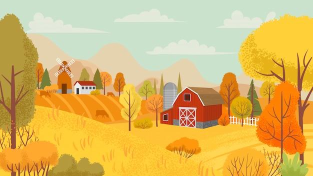 Paesaggio agricolo autunnale. azienda agricola del paese, alberi gialli e illustrazione del fondo del fumetto del campo della fattoria