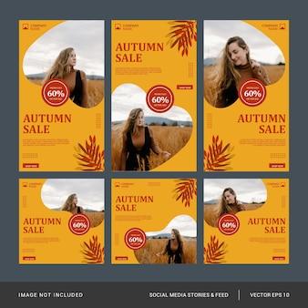 Set di modelli di post e storie di instagram di moda autunnale