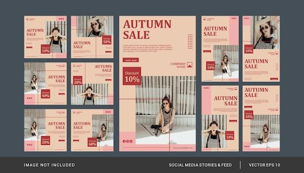 Modello di post sui social media di moda autunnale