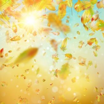 Autunno sfondo festivo con foglie e cielo blu. e include anche
