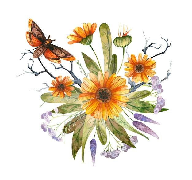 Composizione floreale autunnale con calendula e falco farfalla con teschio composizione di halloween
